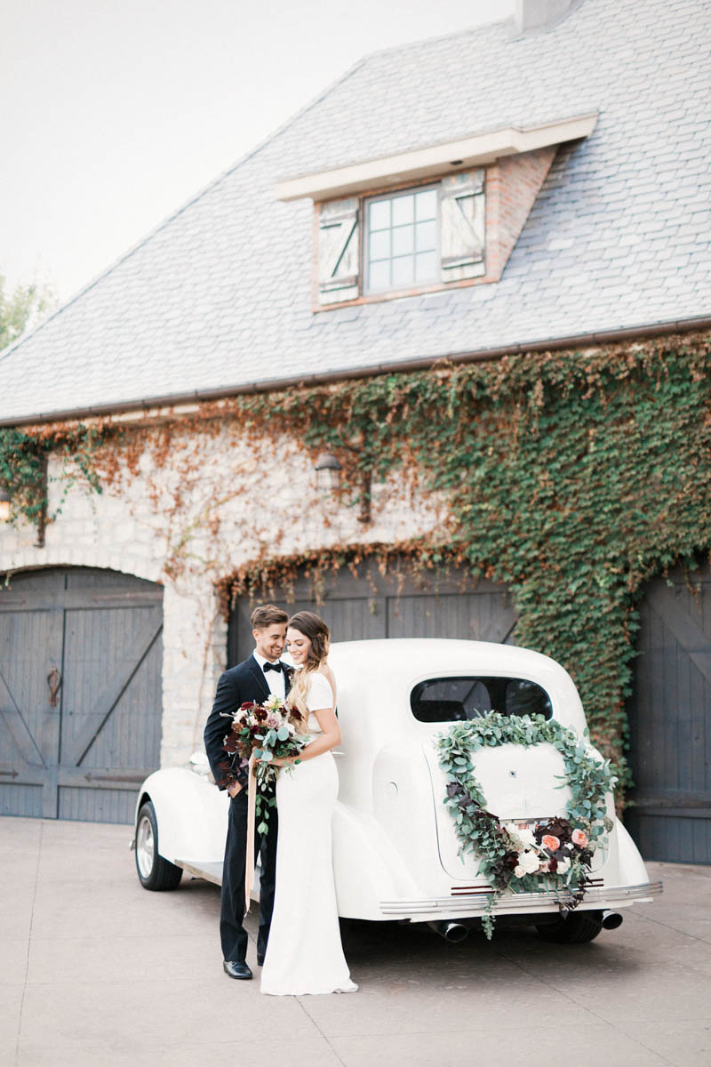 vintage car, wreath on car, st george wedding, wedding photography, design ideas, wedding inspiration, olive oil wedding, olive oil bar, engineering wedding theme, timeless wedding, elegant wedding, southern utah, wedding