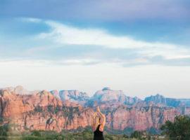 zion canyon yoga, yoga in zion, yoga outside, yoga in nature, southern utah yoga,
